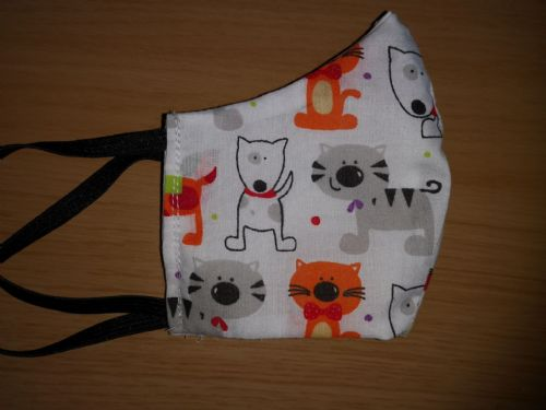 Handmade Breathable Eco Friendly Cotton Face Mask Cat Dog Print Adjustable Ribbon Ties Or Elastic